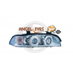Paire de phares tuning Angel Eyes chrome pour BMW E39 de 1995 à 2003