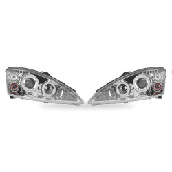 Paire de phares Angel Eyes Chrome pour Ford Focus - Phase I - de 1998 à  2000 (3/5 portes)