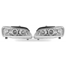 Paire de phares Angel Eyes Chrome pour Peugeot 106 - Phase II - de 1996 à  2004