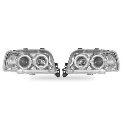 Paire de phares Angel Eyes Chrome pour Renault Clio I - PHase I & II - de 1992 à  1997