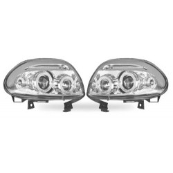 Paire de phares Angel Eyes Chrome pour Renault Clio II - Phase I - de 1998 à  2000