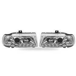 Paire de phares Angel Eyes Chrome pour Seat Ibiza de 1995 à  1999