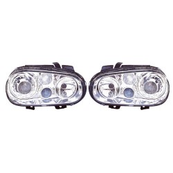 Paire de phares Angel Eyes Chrome pour Volkswagen Golf IV de 1998 à  2002 (Look Design R32)