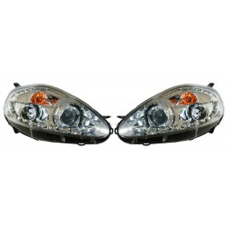 Paire de phares Devil Eyes Chrome pour Fiat Punto à partir de 2005 - finition chrome