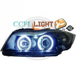 Paire de phares design angel eyes, CCFL Cool Lights noir pour BMW E90