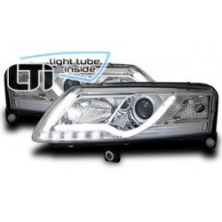 Paire de phares chrome LTI Light Tube Inside pour Audi A6 (4F) Xenon de 2004 a 2008